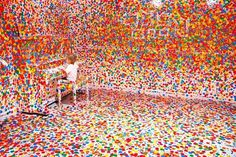 This is What Happens When You Give Thousands of Stickers to Thousands of Kids | Colossal #art #sticker #room