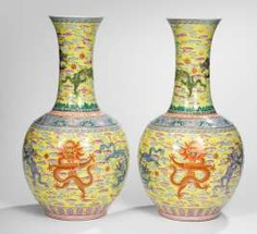 Pair of bottle vases with yellow grundigem dragon decoration in the colours of the 'Famille rose' #Sets #Tea sets #Porcelain sets #Antique plates #Plates #Wall plates #Figures #Porcelain figurines #porcelain