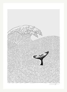 The Ocean of Story - Art Print (by Ilovedoodle) #illustration #sea #whale