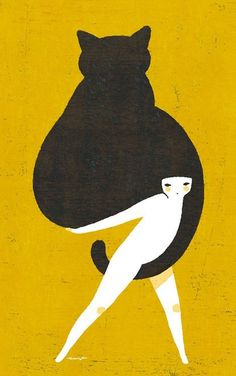 Yoko Tanji #illustration #yellow #cat #black