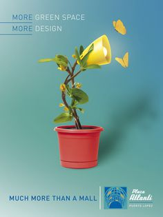 Much More Plaza Atlanti - Advertising #lamp #fusion #design #plant #advertising #ad #flower #green