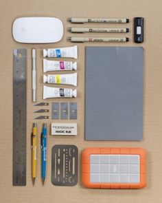 Things Organized Neatly #ink #usb #mouse #ruler #stencil #paint #pen #pencil