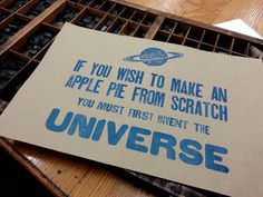 Carl Sagan Apple Pie Letterpress Print #sagan #saturn #letterpress #poster