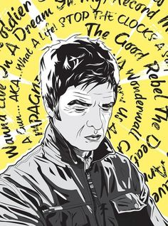 Noel Gallagher After Oasis by Matt Fontaine | Society6 #vector #yellow #grantland #music #noel #quarterly2 #gallagher