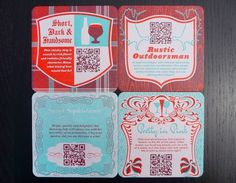 Letterpress QR Coasters #antlers #red #coasters #letterpress #design #fizz #blue