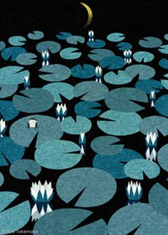 lily, lily pad, water, night, moon, dark, flower, landscape, illustration, ryotakemasa.com