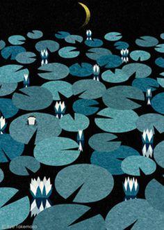 lily, lily pad, water, night, moon, dark, flower, landscape, illustration, ryotakemasa.com