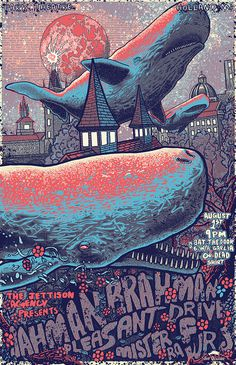 music event poster on Behance #typography #illustration #whale