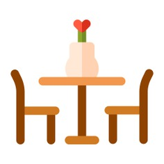 See more icon inspiration related to chair, dinner table, food and restaurant, furniture and household, dining room, house things, chairs, table and eating on Flaticon.
