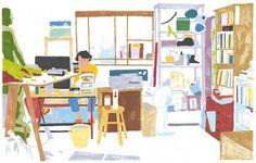 Artist illustrator Hisashi Okawa #paint #painted #japanese #studio