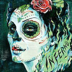 Inferno Illustration / DesginerMX   Jacqui Oakley Illustration & Hand-Lettering #muertos #inferno #jacqui #oakley #mexican #painting #blue #green
