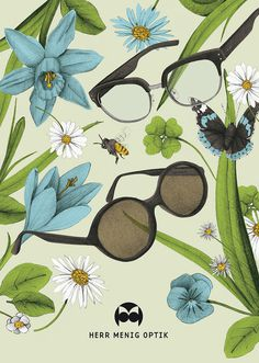 Ad illustration for Herr Menig Optik, an optician in Nürnberg Germany - www.philippzm.com #glasses #optician #sunglasses #illustrations #butterfly #ad #spring #flowers