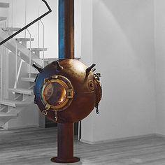 Sea Mine Turned Into A Fireplace #interior #design #decor #deco #decoration