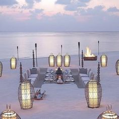 the haus lab #ocean #beach #setting #dinner #food #lanterns #vibes #sunset #light #chill #friends #party