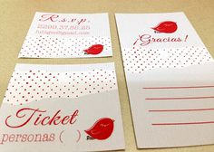 XV Invitación. Pajarito / VX invitation. Little Bird #printed #rojo #red #invitation #parajito #bird #craft #xv #manualidades