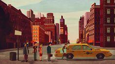 illustration #queue #city #illustration #taxi #street