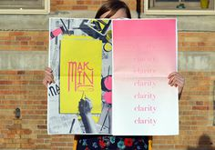 Description #lettering #pink #format #print #yellow #large #poster #typography