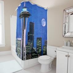 Blue Seattle Skyline Shower Curtain
