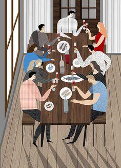 illustration, people, picnic, dinner