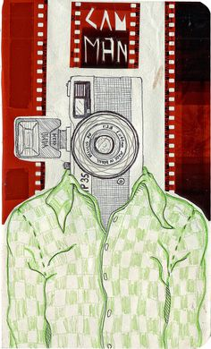 Head's serie #serie #trip35 #camera #head #cam #shirt #illustration #handmade #film #collage