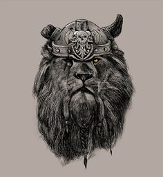 The Eye of the Lion Vi/kingPedro Josue Carvajal Ramirez A.k.a Madkobra #lion #helmet #big #cat #illustration #king #sketch #viking