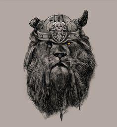 The Eye of the Lion Vi/kingPedro Josue Carvajal Ramirez A.k.a Madkobra #lion #helmet #big #cat #illustration #king #sketch #viking