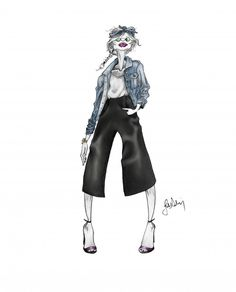 #fashionillustration #illustration #bandana #high #heels #blue #jeansjacket #colors #model #girl #sketch #graphite #woman