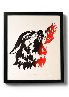 CANIS LUPIS - Original relief. Hand printed. - product images of #ink #printmaking #print #design #drawing #tattoo #illustration #traditional #art #diy #linocut