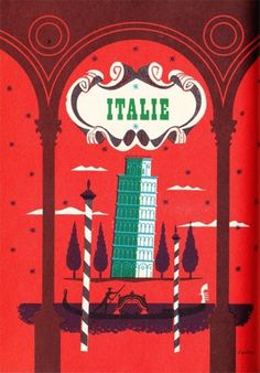 My Vintage Avenue !!! 50's and 60's illustrations !!!: Beautiful illustrations by Maurice Laban, 1959. #red #illustration #vintage #italy #green