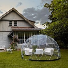 Turn your backyard into a garden oasis or a compact relaxation getaway with the garden igloo - a geodesic dome that's built with a love of n #backyard #modern #lifestyle #design #relaxing #product #industrial #geodesic #comfortable #garden #dome #style
