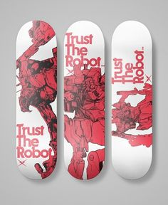 TrustTheRobot® Skateboard Decks #white #red #robot #deck #wood #skate #robots