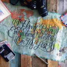 I haven't been everywhere, but it's on my list - Map lettering by Adam Vicarel #lettering #travel #map #typography