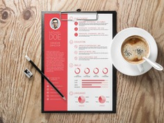 Free minimalist infographic Resume Template in PSD Format