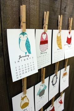 owl calendar 2012 by stacie bloomfield | lamono magazine #illustration #calender