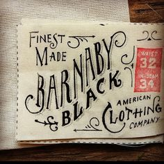Typography / barnaby black tag, design