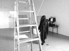 Every cliff, has its fool #dubai #gallery #white #woman #minimalism #black #contemporary #minimal #art #and