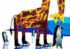 Człowiek z szuflady #giraffe #illustration #skates #painting #penguin #ice