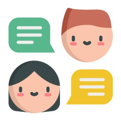 See more icon inspiration related to talk, chat, user, chatting, friends, communications, speech bubble, speech balloon and talking on Flaticon.