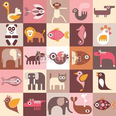 Animals, Fishes and Birds #seahorse #cat #monkey #elephant #illustration #pet #wild #lion #zoo #collage #jungle #dog #ostrich #icon #fish #bird #penguin #parrot #animal #life #horse #hummingbird #whale #panda #symbol
