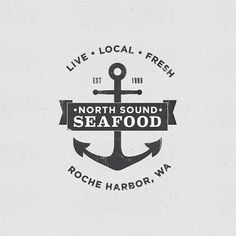 I always find these old-timey looking logos appealing. I think it's partly the monochrome as well as the slight crinkly or cracked effect. #ocean #banner #black #distressed #seafood #logo #anchor #grey