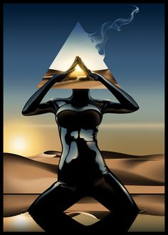 Tumblr #digital #triangle #painting #pyramid #desert