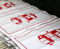 Made By Morris #bus #printed #silkscreen #towel #red #london #tea #hand