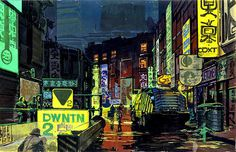 1980 ... street scene 'Bladerunner' -Syd Mead | Flickr - Photo Sharing! #mead #blade #night #runner #concept #art #street #signs #syd #neon