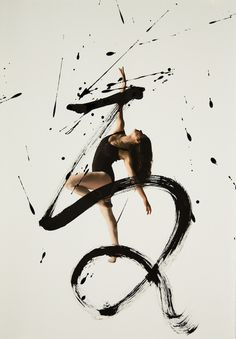 Expressive Combination of Ballet Dancers and Calligraphy #typography #ballet #dancer #calligraphy