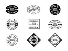 Old Industrial Style Hockey Day logos #icon #logo #badge