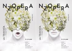 Best Awards - Alt Group. / New Zealand Opera La Traviata #zealand #nz #white #typography #floral #photography #opera #poster #flowers #new