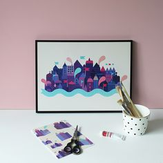 #nordic #design #graphic #illustration #danish #simple #nordicliving #living #interior #kids #room #poster #city #purple #houses #town
