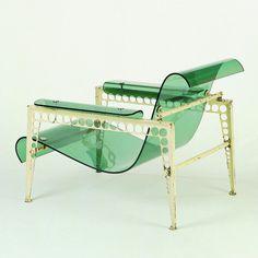 Garden Chair - Jean Prouvé, Jacques André - 1937 #acrylic #chair #glass #furniture #transparent #plexi #object #metal #green