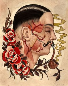 The Art of Marie Sena | Ink Butter™ | Tattoo Culture and Art Daily #tattoo #moustache #flash #water colour