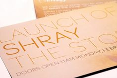Chaiti Mehta Design | Shray The Store #invite #print #design #orange #graphic #launch #store #brand #retail #luxury #typography